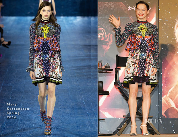 Daisy Ridley In Mary Katrantzou - 'Star Wars The Force Awakens' Urayasu Press Conference