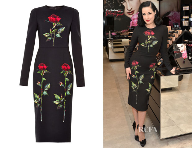 Dita von Teese's Dolce & Gabbana Rose-print wool-blend midi dress
