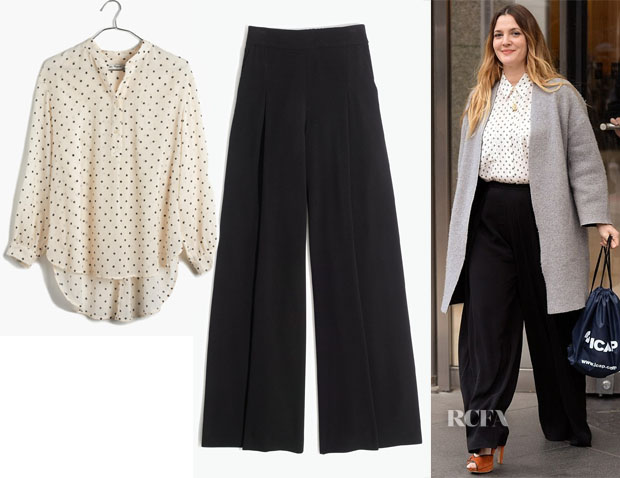 Drew Barrymore's Madwell Silk Courier Shirt & Caldwell Pull-On Trousers