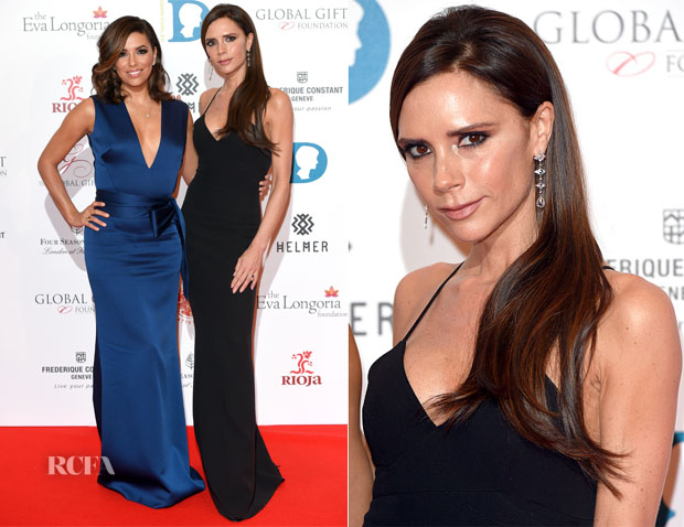 Eva Longoria and Victoria Beckham In Victoria Beckham - The Global Gift Gala London