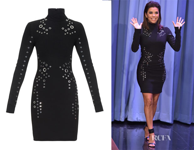 Eva Longoria's Mugler Grommet-detail long-sleeved mini dress