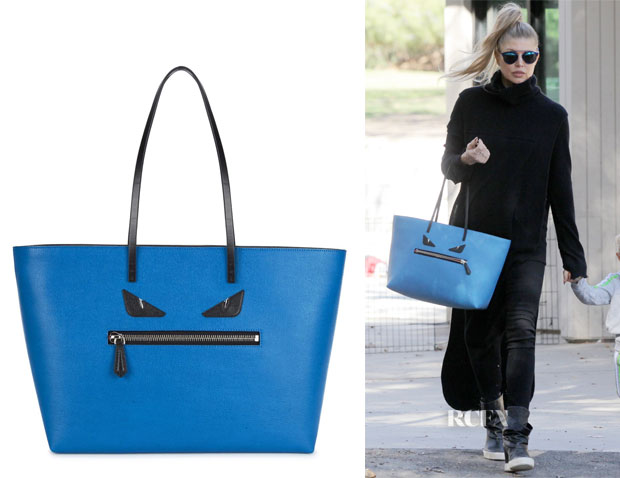 Fergie's Fendi Monster Roll blue leather tote