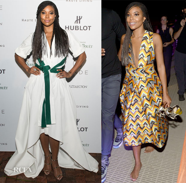 Gabrielle Union In Rosie Assoulin & Milly - Hublot & Haute Living Toast Art Basel