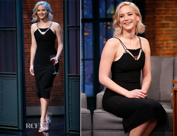 Jennifer Lawrence In Mugler - Late Night with Seth Meyers