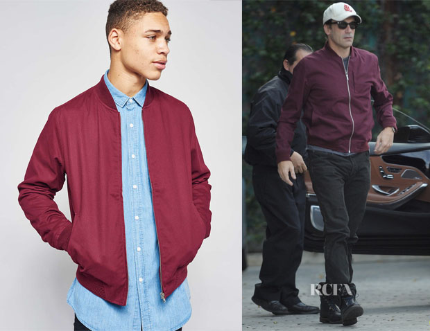 Jon Hamm's Topman Burgundy Cotton Bomber Jacket