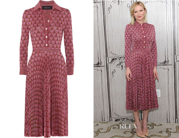 Kirsten Dunst's Gucci Metallic Jacquard-Knit Dress