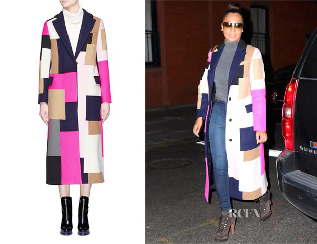 La La Anthony MSGM Patchwork Long Coat