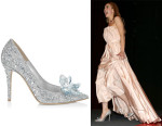 Lily James' Jimmy Choo Crystal Covered Pointy Toe Pump 'Cinderella Slipper'