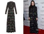 Liv Tyler's Valentino Primavera-Print Pleated-Skirt Dress
