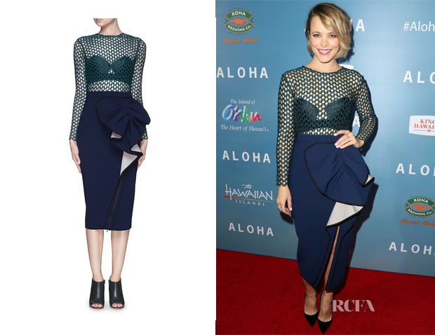 Rachel McAdams' Self-Portrait Built-in Bra Ruffle Bow Arabesque Lace Dress