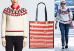 Reese Witherspoon's Draper James Fontaine Fairisle Sweater and Printed Vanderbilt Tote