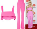 Rita Ora's Cushnie et Ochs Ruffled Bra Top & Flared Trousers