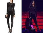 Selena Gomez' Tamara Mellon Mixed Media Catsuit
