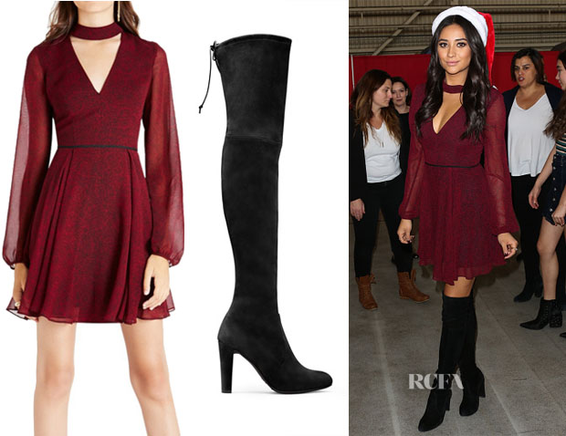 Shay Mitchell's BCBGeneration Cutout Front Flared Mini Dress & Stuart Weitzman Highland Boots