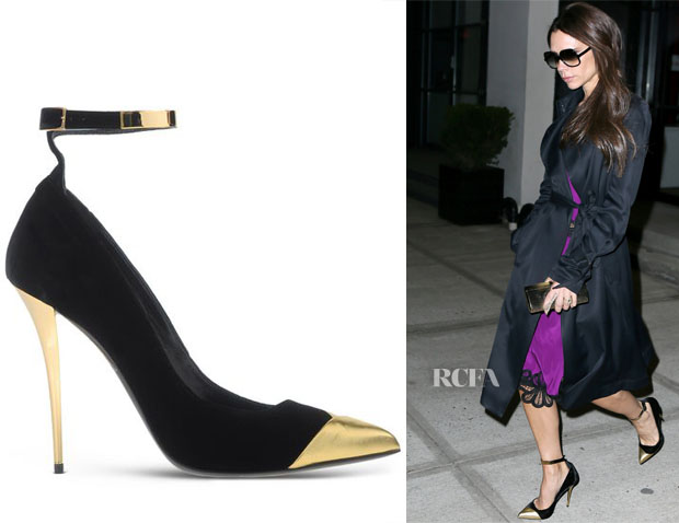 Victoria Beckham's Balmain Lilea Velvet & Metallic Leather Point-Toe Pumps