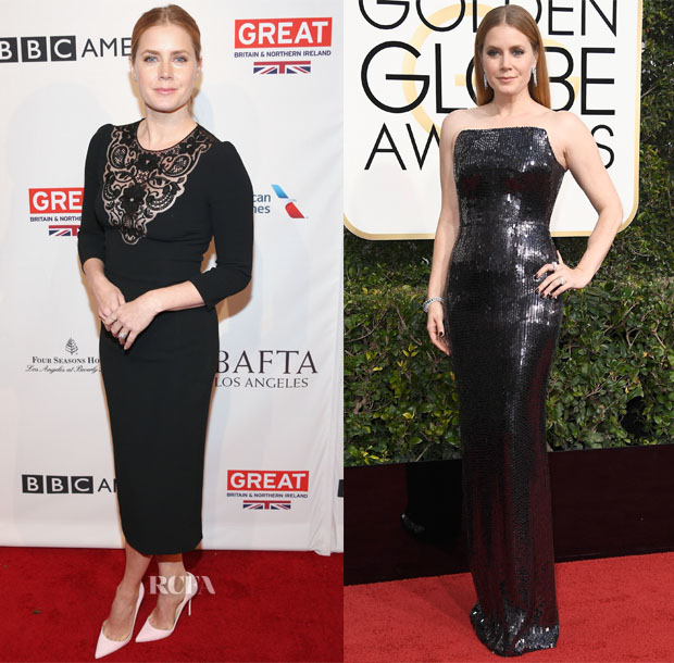 Amy Adams In Dolce & Gabbana & Tom Ford - BAFTA Tea Party & 2017 Golden Globe Awards