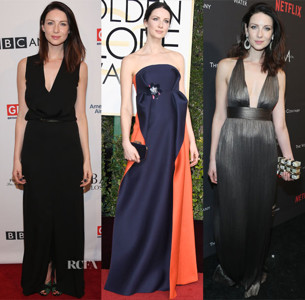 Caitriona Balfe In Salvatore Ferragamo, Delpozo & Maria Lucia Hohan - BAFTA Tea Party & 2017 Golden Globe Awards