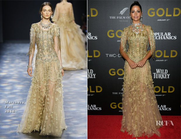Camila Alves In Marchesa - 'Gold' New York Premiere