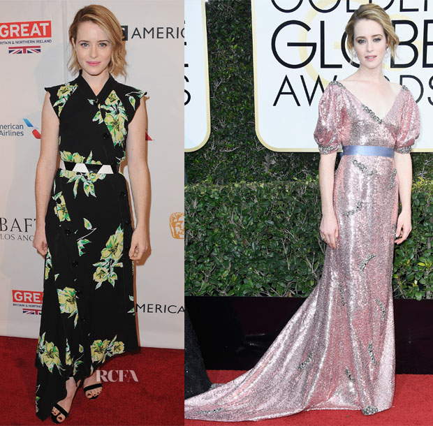 Claire Foy In Erdem - BAFTA Tea Party & 2017 Golden Globe Awards