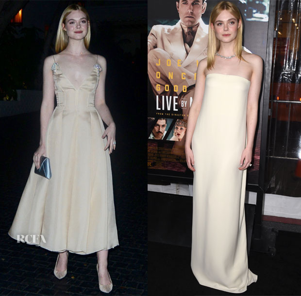 Elle Fanning In Prada & Oscar de la Renta - Golden Globes After-Party & 'Live by Night' LA Premiere