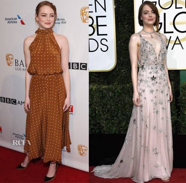 Emma Stone In Diane von Furstenberg, Valentino, Chanel & The Row - BAFTA Tea Party, 2017 Golden Globe Awards, 'La La Land' Paris & London Premiere's