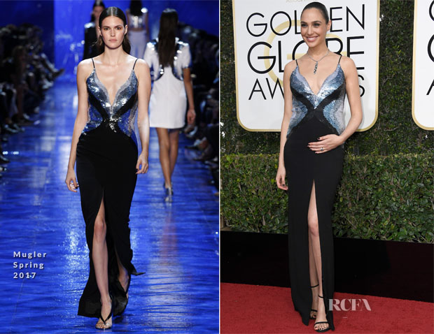 Gal Gadot In Mugler - 2017 Golden Globe Awards
