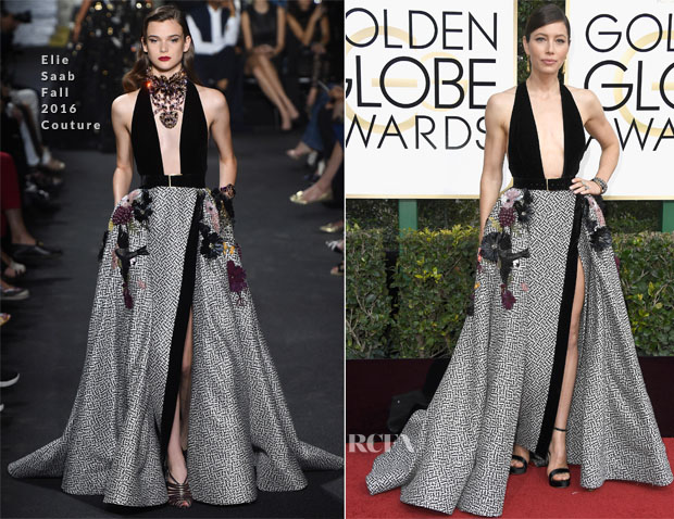 Jessica Biel In Elie Saab & Cushnie et Ochs - 2017 Golden Globe Awards, 'The Book of Love' LA Premiere & Jimmy Kimmel Live