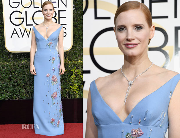 Jessica Chastain In Prada - 2017 Golden Globe Awards
