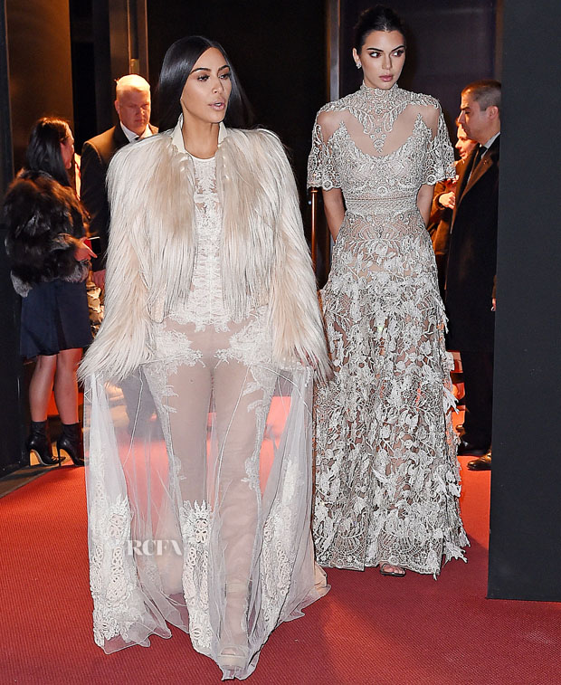 Kim Kardashian In Givenchy Couture & Kendall Jenner In Elie Saab Couture - On The Set Of 'Ocean's Eight'