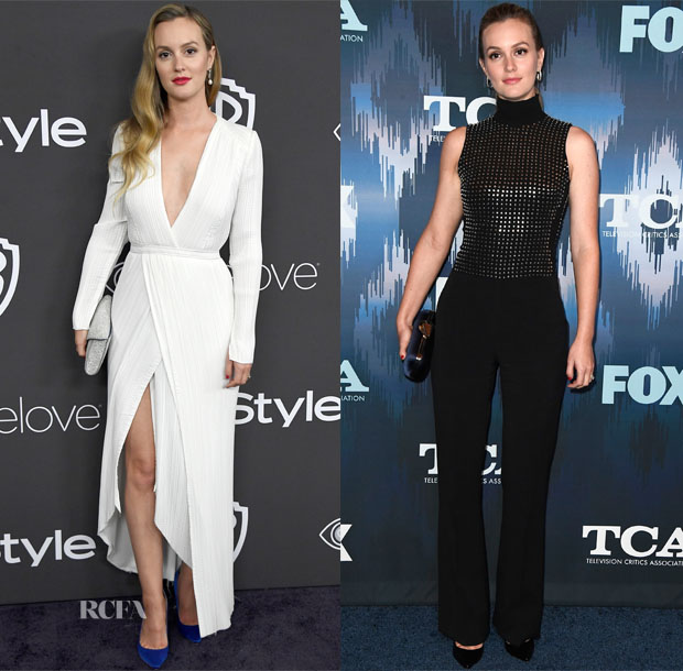 Leighton Meester In Galvan & David Koma - 2017 Golden Globes Party & 2017 Winter TCA Tour