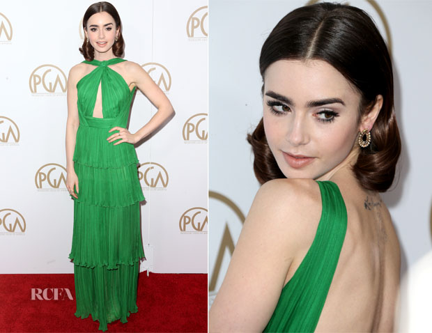 Lily Collins In Emanuel Ungaro - 2017 Producers Guild Awards