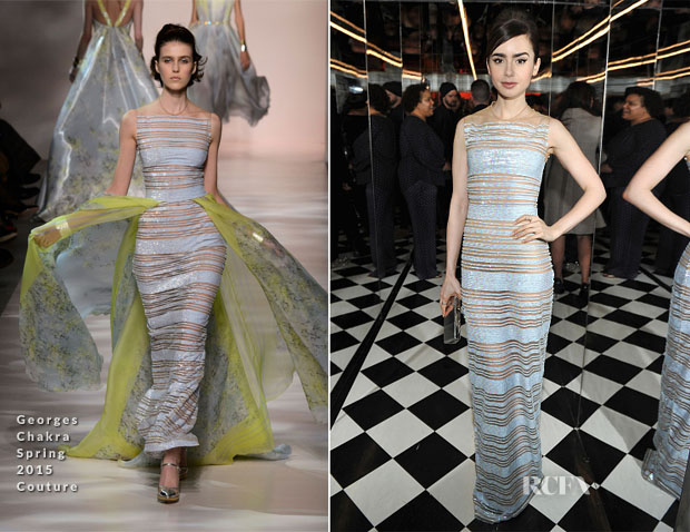 Lily Collins In Georges Chakra Couture, Christian Dior & Zuhair Murad - W Magazine Parties, HAITI RISING Gala & Golden Globe Awards