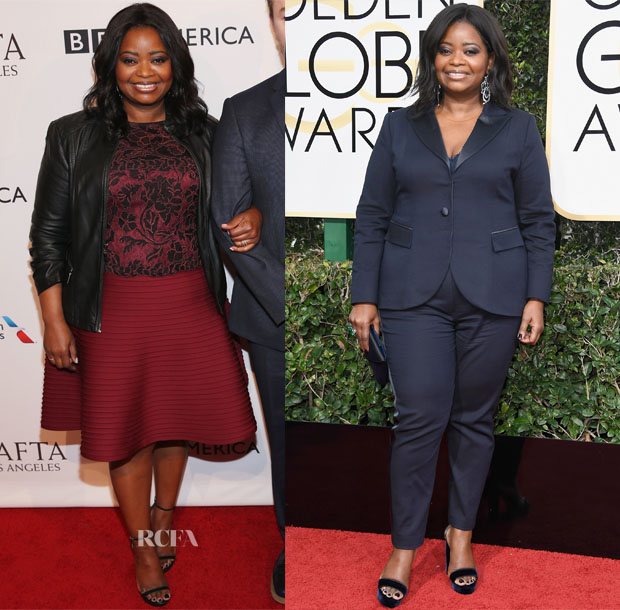 Octavia Spencer In Tadashi Shoji & Laura Basci - BAFTA Tea Party & 2017 Golden Globe Awards