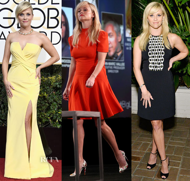 Reese Witherspoon In Atelier Versace, Alexander McQueen & David Koma - 2017 Golden Globe Awards, 2017 Winter TCA Tour & ELLE's Women in Television