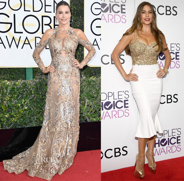 Sofia Vergara In Zuhair Murad Couture & Marchesa - 2017 Golden Globe Awards & People's Choice Awards