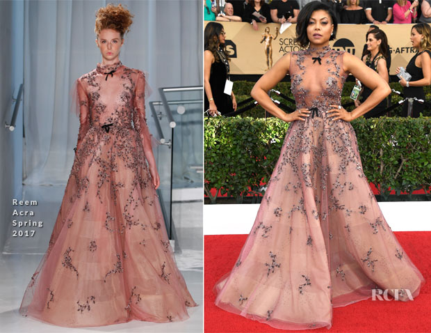 Taraji P. Henson In Reem Acra - 2017 SAG Awards