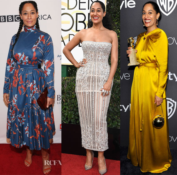 Tracee Ellis Ross In Polite, Zuhair Murad Couture & Paule Ka - BAFTA Tea Party & 2017 Golden Globe Awards