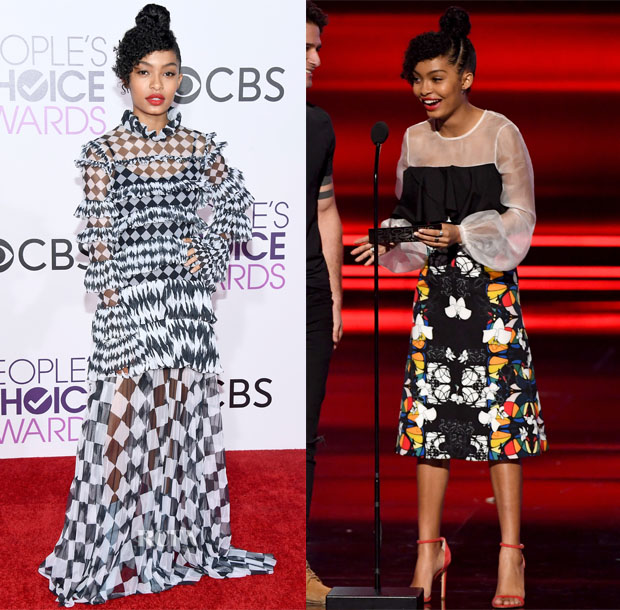 Yara Shahidi In Off-White c/o Virgil Abloh & Bibhu Mohapatra - 2017 People's Choice Awards