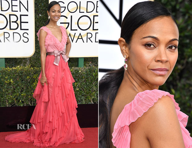 Zoe Saldana In Dolce & Gabbana & J. Mendel Couture - 2017 Golden Globe Awards & 'Live by Night' LA Premiere