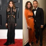 Chrissy Teigen In Roberto Cavalli & Paule Ka - 2017 Grammy Awards