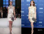 Emma Stone In Giambattista Valli Couture - Vanity Fair And Barneys New York Private Dinner