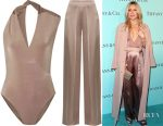 Kate Hudson's Cushnie et Ochs twisted wrap-effect stretch-jersey bodysuit & pleated silk-charmeuse wide-leg pants