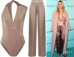 Kate Hudson's Cushnie et Ochs twisted wrap-effect stretch-jersey bodysuit & pleated silk-charmeuse wide-leg pants