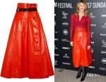 Laura Dern's Bottega Veneta belted glossed-leather midi skirt