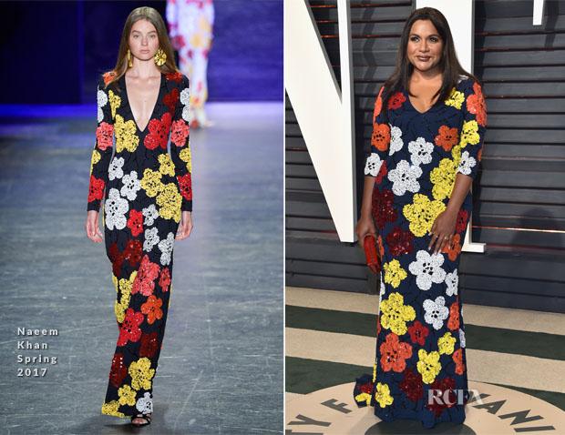 Mindy Kaling In Naeem Khan 2017 Vanity Fair Oscar Party Red Carpet Fashion Awards