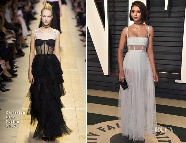 Nina Dobrev In Christian Dior - 2017 Vanity Fair Oscar Party - Red ...