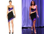 Nina Dobrev's David Koma diagonal stripes asymmetric dress