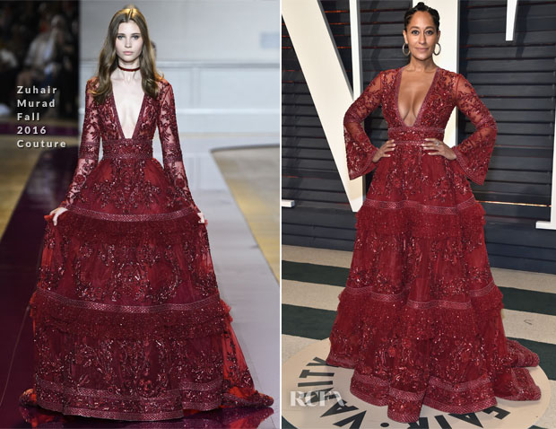 3a0ea02e0fc7 Tracee Ellis Ross continued the trend of red hued couture at the 2017  Vanity Fair Oscar Party on Sunday (February 26).
