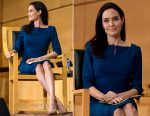 Angelina Jolie In Roland Mouret - Sergio Vieira de Mello Foundation Annual Lecture In Geneva