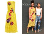 Chloe Bailey's Dolce & Gabbana embroidered cordonetto-lace dress